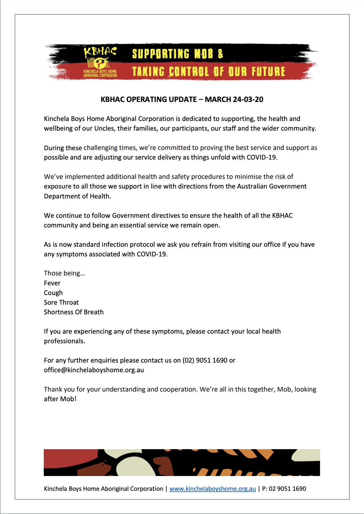 KBHAC Operating Update - March 24-03-20